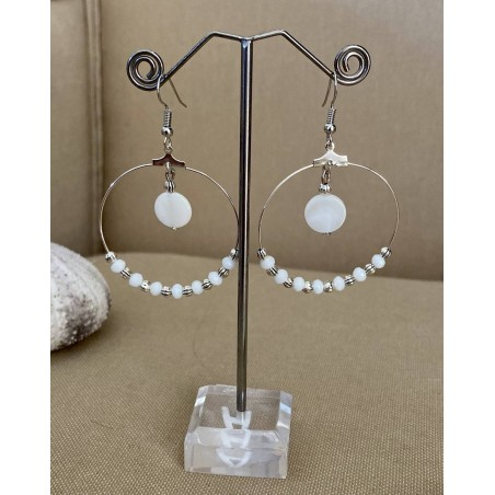 Boucles d'oreilles créoles nacre et cristal blanc