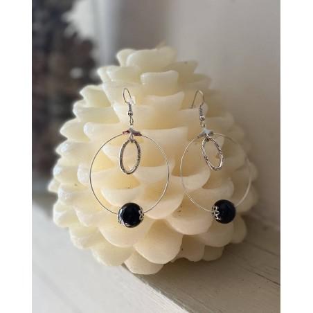 Boucles d'oreilles créoles perle noire et anneau