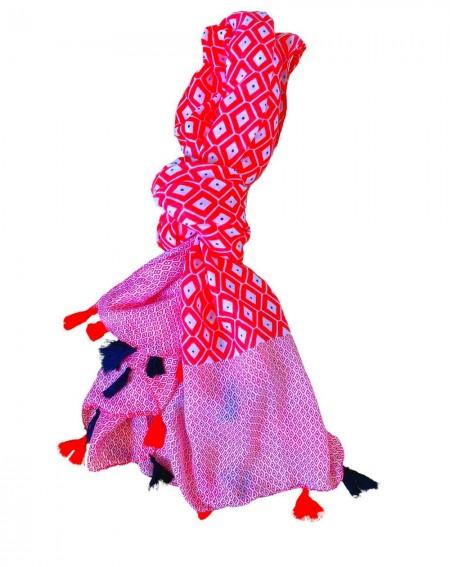 Foulard à pompons bicolore rouge et noir
