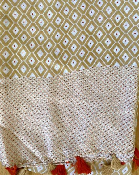 Étole femme à pompons bicolore brun clair et brique
