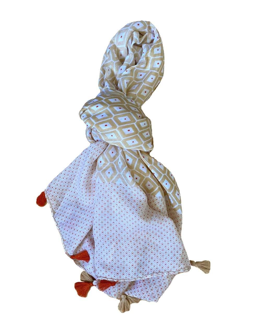 Chèche femme à pompons bicolore marron clair et brique