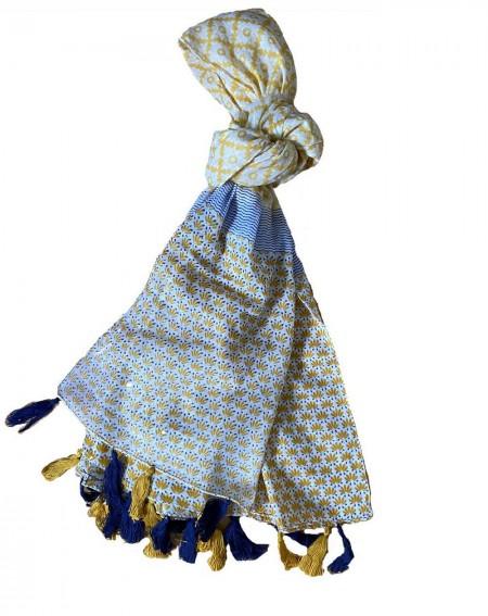 Grand foulard bleu marine à pompons et motifs moutardes