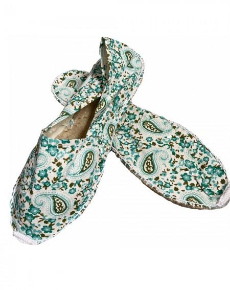Espadrilles vertes pour femmes à motifs arabesques
