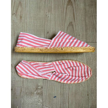 Espadrille femme à rayures roses et blanches