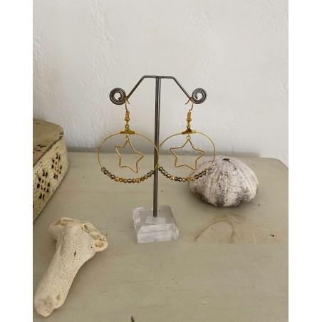 Boucles d'oreilles créoles étoile dorée et perles