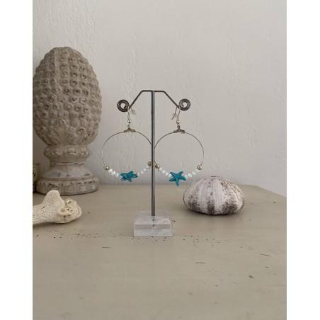 Boucles d'oreilles créoles étoile de mer et perles cristal
