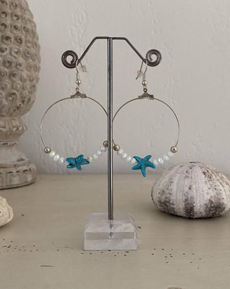 Créoles fantaisies étoile de mer et perles cristal