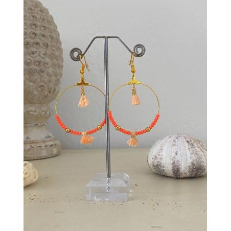 Boucles d'oreilles créoles dorées aux perles cristal et pompons