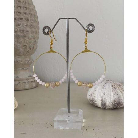 Créoles dorées aux perles cristal roses