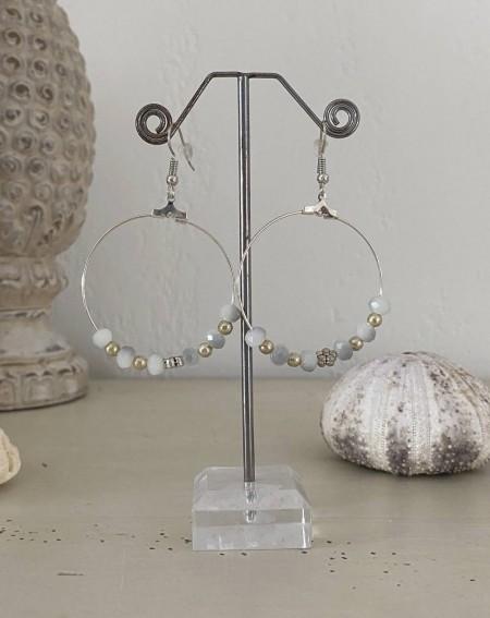 Créoles perles cristal blanc à facettes