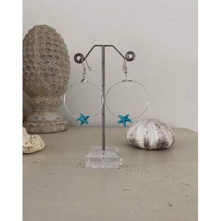 Boucles d'oreilles créoles à l'étoile de mer turquoise