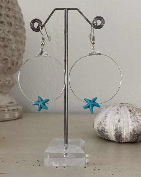 Créoles turquoise à l'étoile de mer