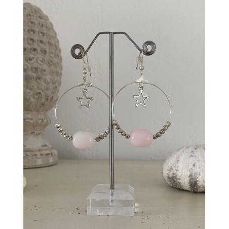 Créoles perle rose et mini perles métal