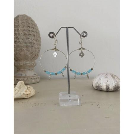Boucles d'oreilles créoles perles bleues lagon