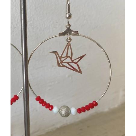 Boucles d'oreilles créoles perles cristal rouge et oiseau