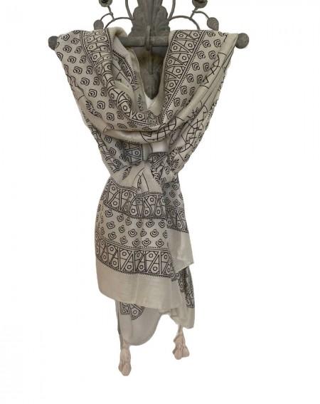 Foulard ethnique motifs noirs sur fond beige