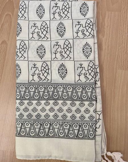 Foulard à motifs poissons et ethniques