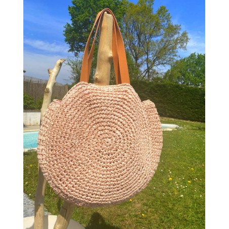sac rond en paille de grande taille rose poudré