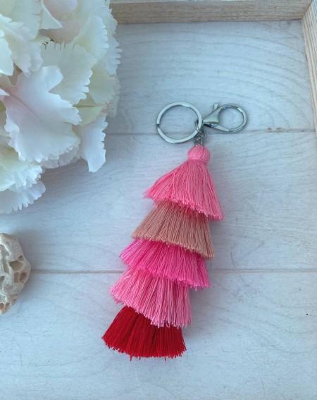 Porte clefs à pompons multicolores roses, rouge et beige