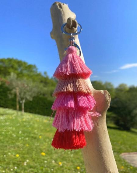 Bijoux de sac pompons  multicolores