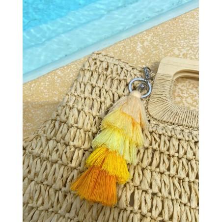Bijoux de sac original à pompons multicolores jaune, beige et corail