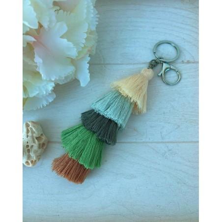 Porte clés pompons multicolores