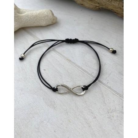 Bracelet ficelle noire et symbole infini