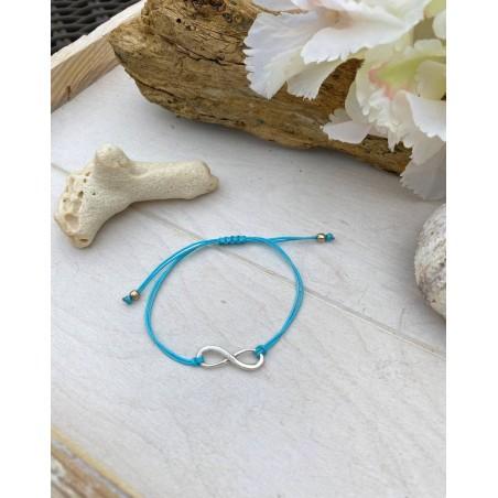 Bracelet fantaisie cordon bleu et symbole infini
