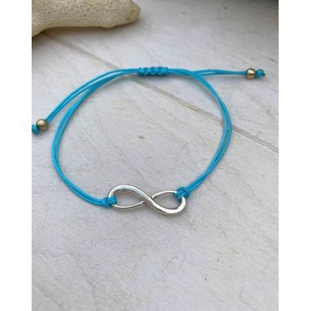Bracelet infini femme coloris bleu