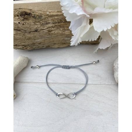 Bracelet sigle infini et cordon gris
