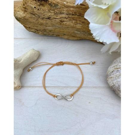 Bracelet symbole infini et fil marron
