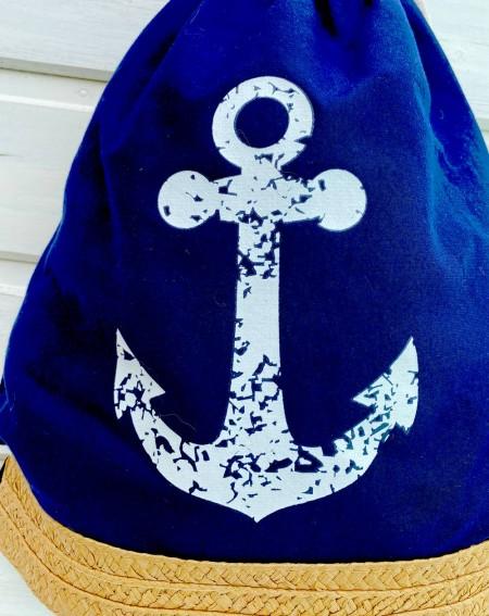 Sac bleu marine décor ancre