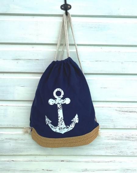 Sac pochon bleu à l'ancre de marine