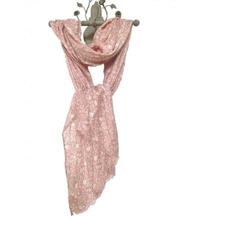Foulard rose tendre motifs fleurs