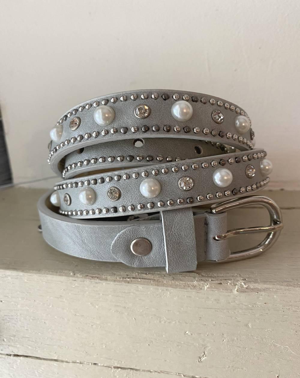 ceinture en cuir gris pour femme