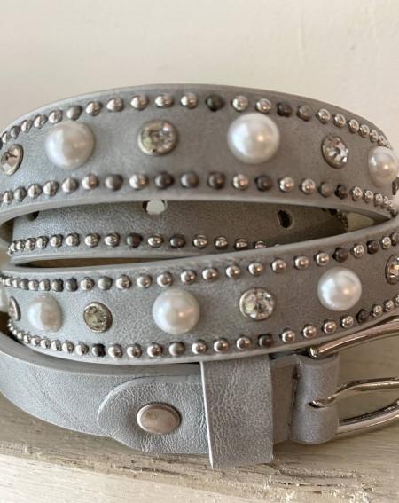 Ceinture fine cuir avec perles et strass