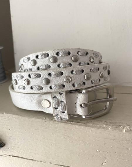 ceinture avec strass en cuir blanc