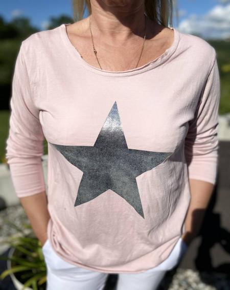 Tee shirt rose à étoile et manches longues