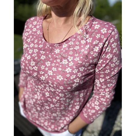 Tee shirt rose à manches longues et motifs fleuris