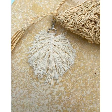 Bijoux de sac feuille coloris beige