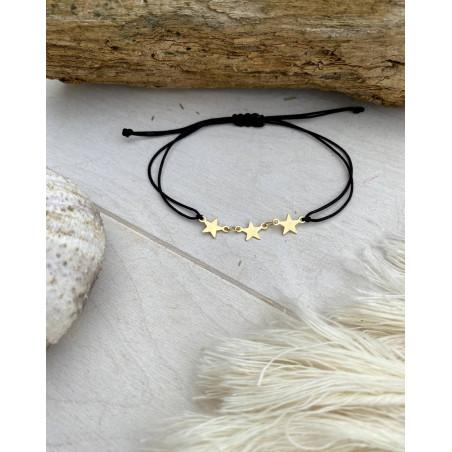 Bracelet étoiles assorti d'un cordon noir