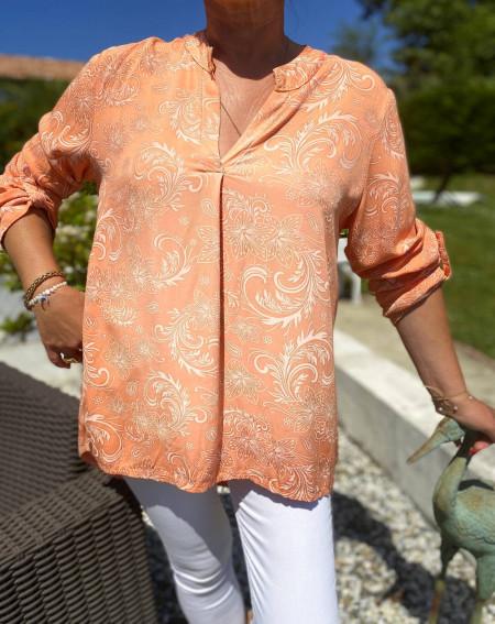 Tunique abricot motifs arabesques pour femme