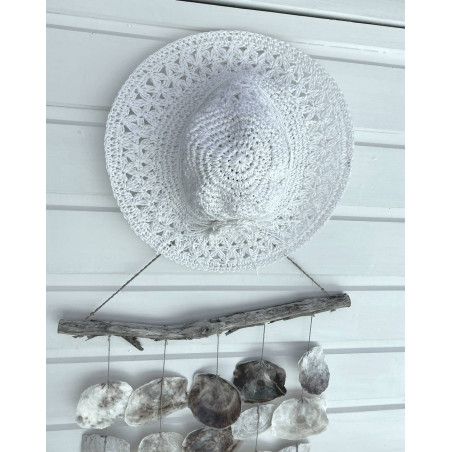 Chapeau d été en paille de papier coloris blanc
