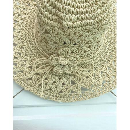 Chapeau d'été en paille pour femme coloris naturel