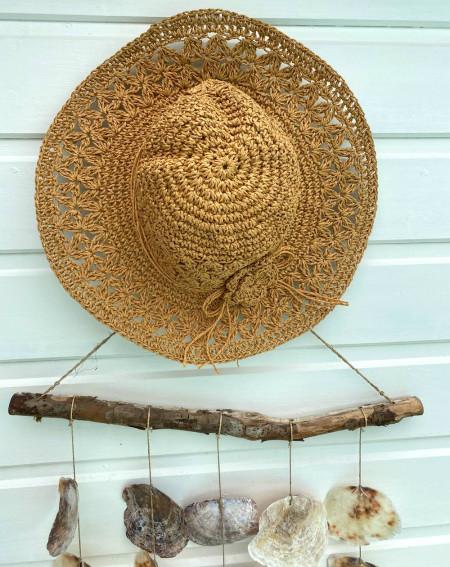 Chapeau bohème pour femme en paille coloris camel