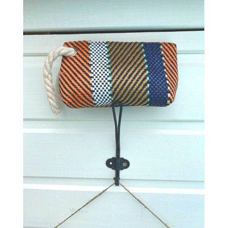 Pochette femme esprit marin coloris corail, marron et bleu marine