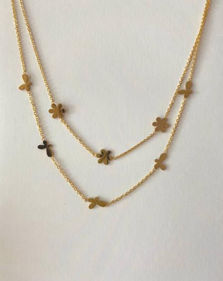 Collier doré 2 rangs fleurs et papillons stylisés