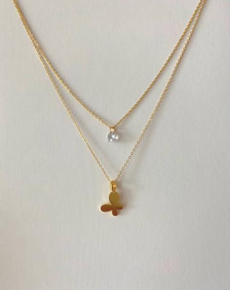 Collier doré 2 chaînes avec pendentifs en acier inoxydable