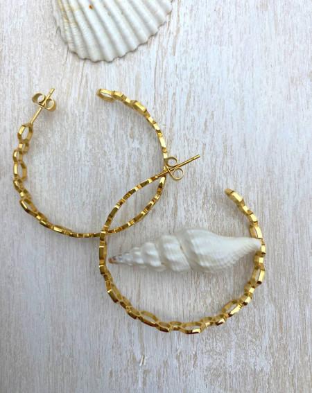 Boucle d'oreilles  ajourés en acier doré