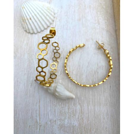 Boucle d'oreilles créoles ajourés en acier doré
